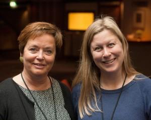 Styreleder Ingrid Brattset (til venstre) og daglig leder Gry Bråtømyr på forrige landsmøte.