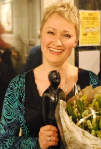 En overrasket og svært glad Buddyprisvinner, Live Maria Roggen.