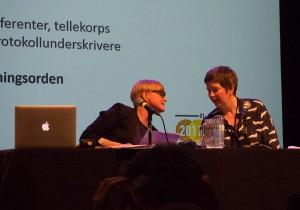 Møteleder Kjersti Vikør og bisitter Kari Grete Jacobsen. (foto: Pål Buset)