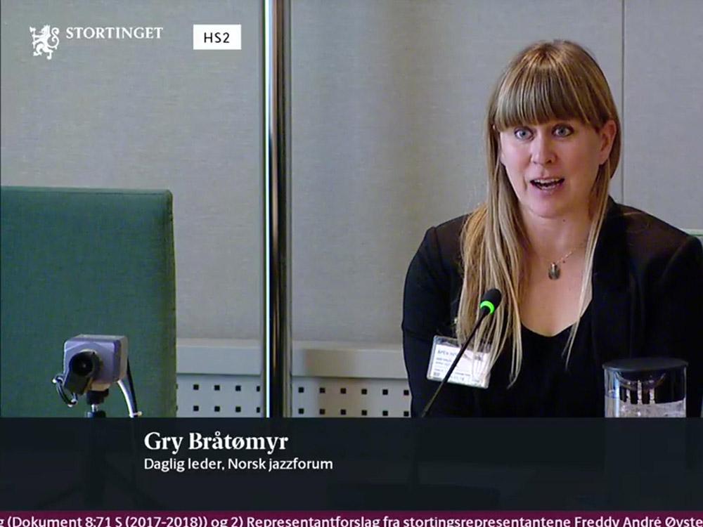 Gry Bråtømyr i høring hos Stortingets familie- og kulturkomité 29. januar 2018. (skjermdump, Stortingets nettTV)