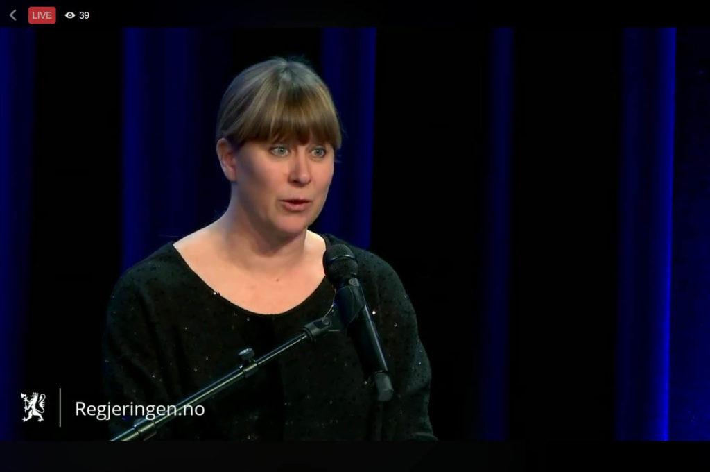 Daglig leder i Norsk jazzforum, Gry Bråtømyr, på Kulturdepartementets nasjonale innspillsmøte 2. februar 2018. (skjermdump fra regjeringen.no)