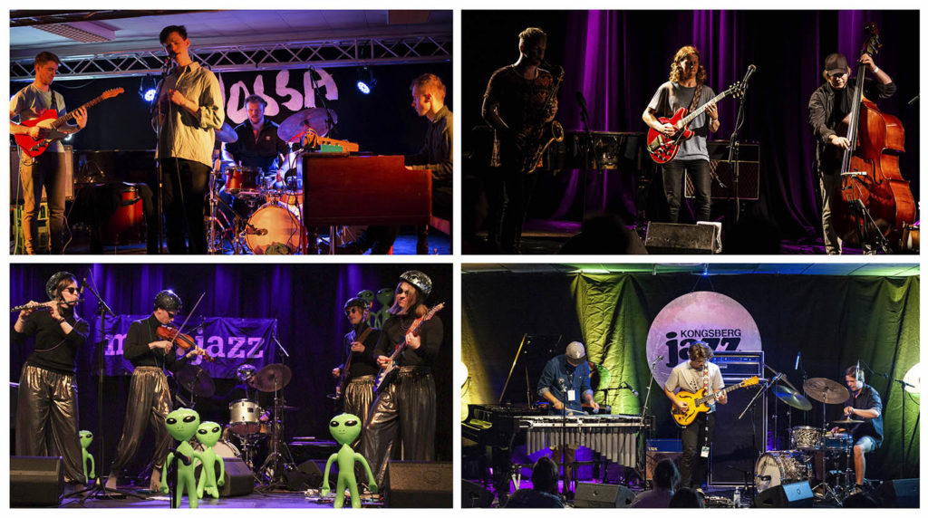 Øverst fra venstre: Relling (foto: Runhild Heggem/Vossa Jazz), Master Oogway (foto: Oddbjørn Steffensen/Nattjazz), Billy Meier (foto: VladimiR/Maijazz) og I Like to Sleep (foto: Gunnar Brekke/Kongsberg Jazzfestival).