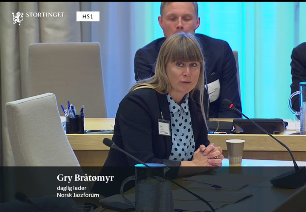 Daglig leder i Norsk jazzforum, Gry Bråtømyr. (foto: skjermdump Stortingets nett-tv)